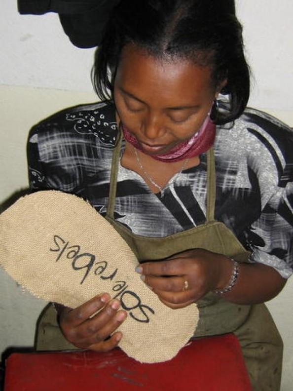 soleRebels shoe being made